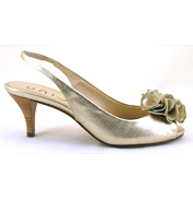 Lucho Soft Leather Peep Toe Slingback in Gold Size…