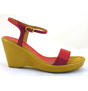 Rita Silk Classic Strappy Wedge in Fire Size 38…